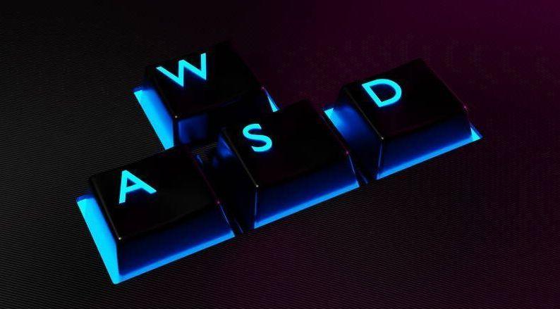 Wyróżniony WSAD z klawiatury mechanicznej